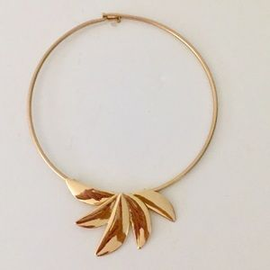 "Robert Lee Morris Gold Collar Necklace Signed 17"""